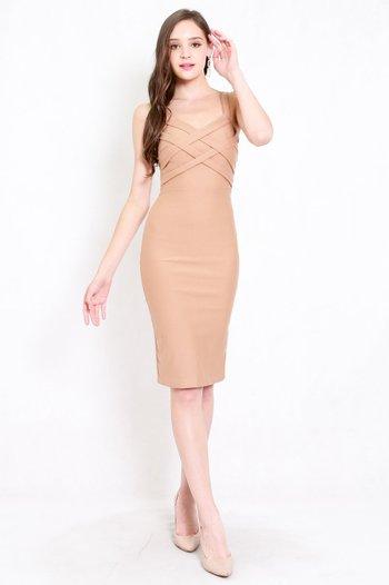 *Premium* Braided Midi Dress (Skin-Nude)