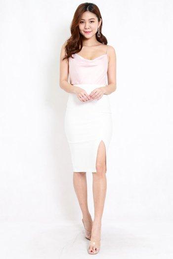 *Premium* Pencil Slit Midi Skirt (White)