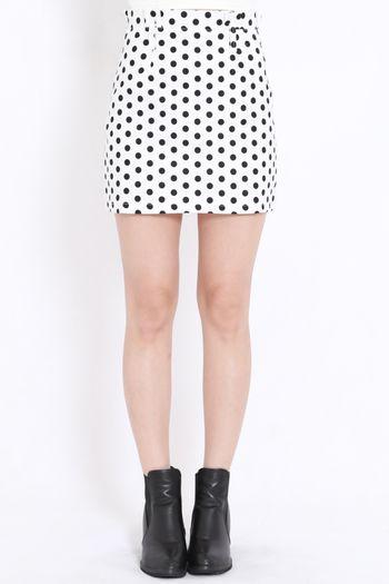 Polkadot High Waist Skirt (White)