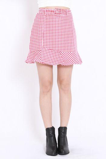 Gingham Mermaid Skirt (Red)
