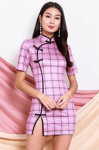 Checkered Slit Cheongsam Dress