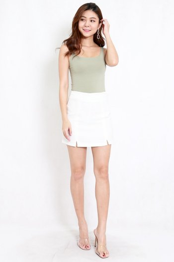 Vanessa Double Slit Skirt (White)