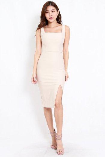 *Premium* Square Neck Slit Midi Dress (Ivory)