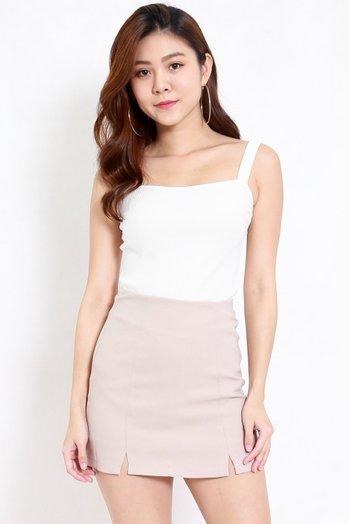 Vanessa Double Slit Skirt (Ivory)