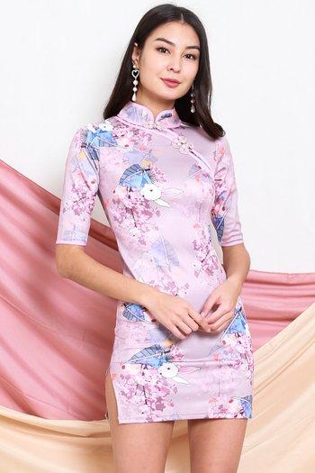 Rabbit Lilac Cheongsam Dress