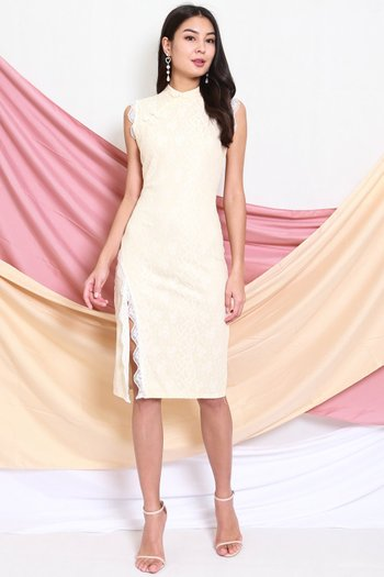 Shimmer Lace Cheongsam Dress (Cream)