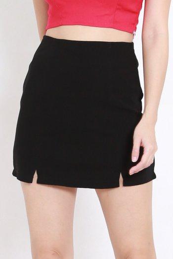 Vanessa Double Slit Skirt (Black)