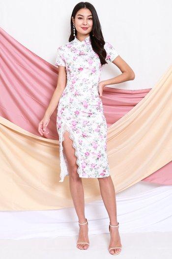 Roses Sleeved Cheongsam Dress