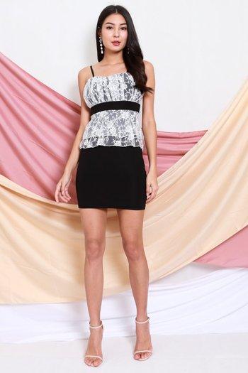 Lace Peplum Sweetheart Dress