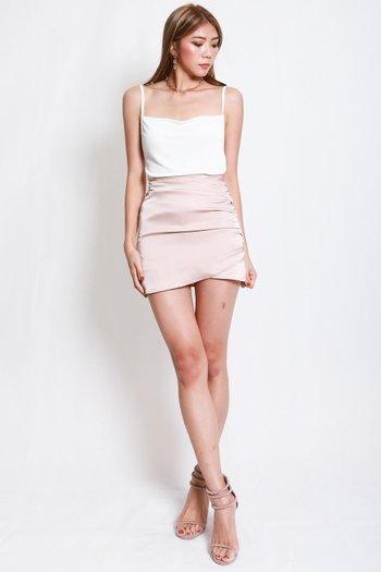 Erica Cowl Neck Top (White)