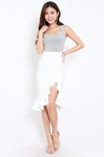*Premium* Ruffle Slit Midi Skirt (White)