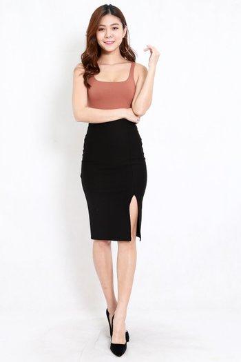 *Premium* Pencil Slit Midi Skirt (Black)