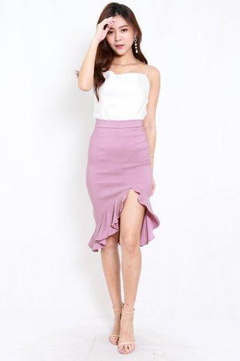 Ruffle Slit Midi Skirt (Lavender)