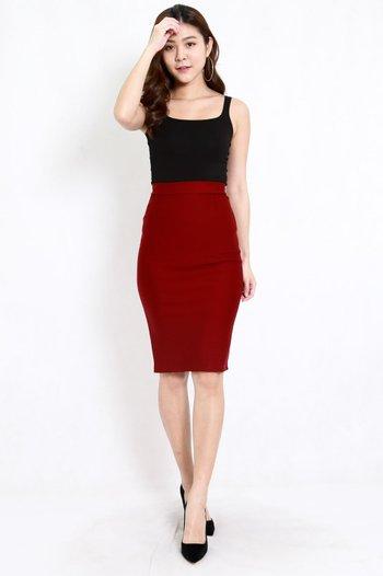 *Premium* Pencil Midi Skirt (Maroon)