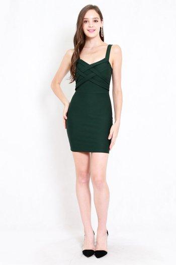 *Premium* Braided Bodycon Dress (Forest Green)
