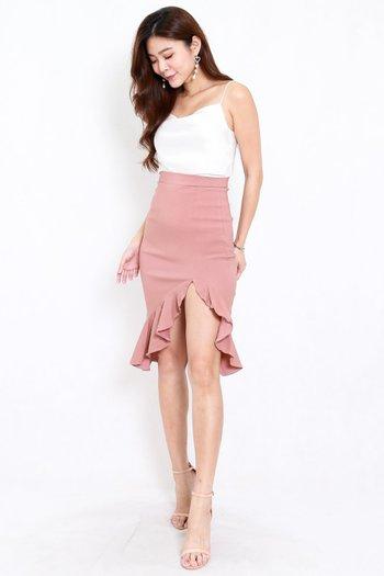 Ruffle Slit Midi Skirt (Tan-Nude)