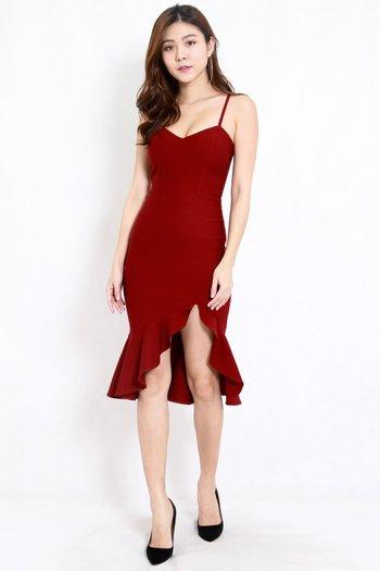 *Premium* Sweetheart Ruffle Spag Dress (Maroon)