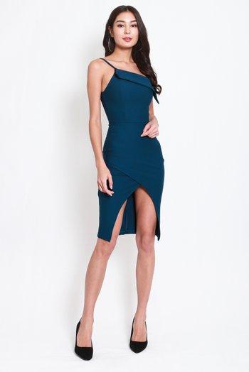 *Premium* Toga Overlap Slit Dress (Teal)