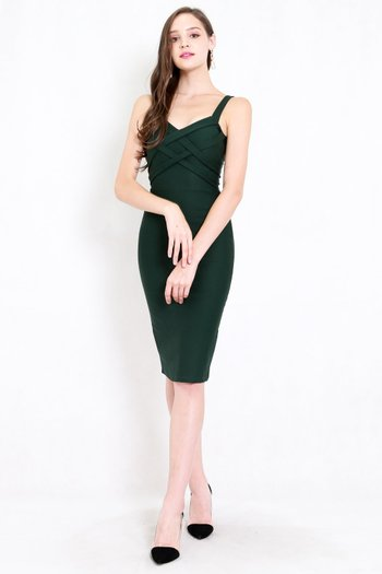 *Premium* Braided Midi Dress (Forest Green)
