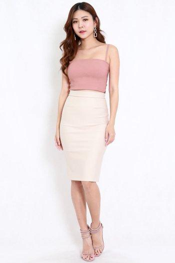 *Premium* Pencil Midi Skirt (Ivory)