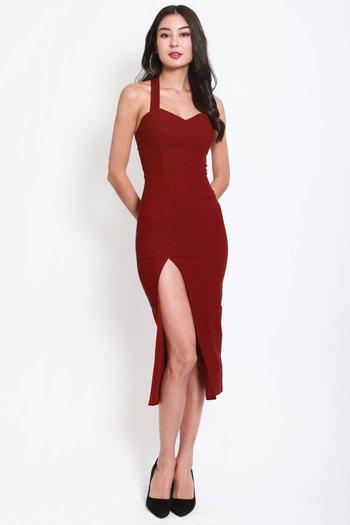 Sweetheart Halter Midi Dress (Maroon)
