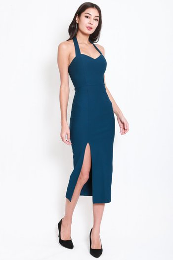 *Premium* Sweetheart Halter Midi Dress (Teal)