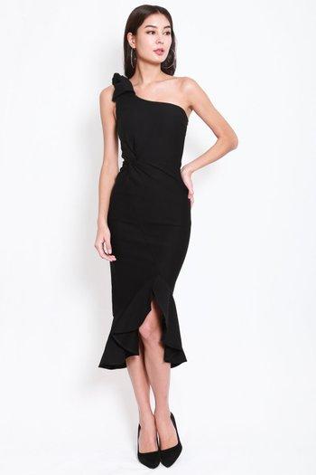 *Premium* Twist Toga Ruffle Dress (Black)