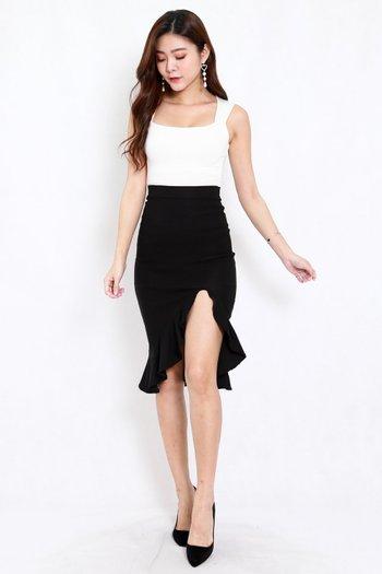Ruffle Slit Midi Skirt (Black)