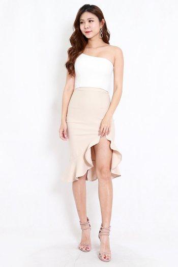 *Premium* Ruffle Slit Midi Skirt (Ivory)