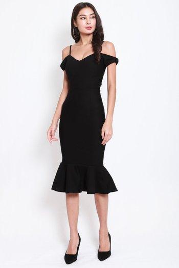 *Premium* Bow Sleeve Mermaid Dress (Black)