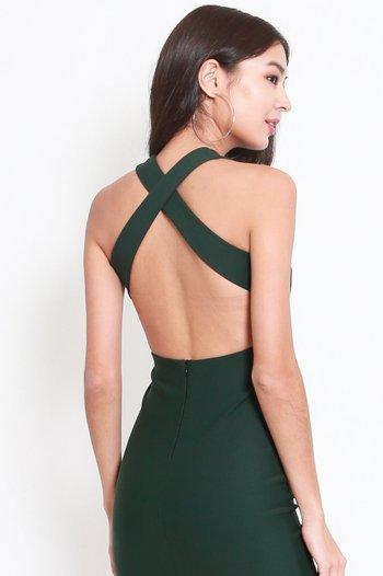 *Premium* High Neck Cross Back Midi Dress (Forest Green)
