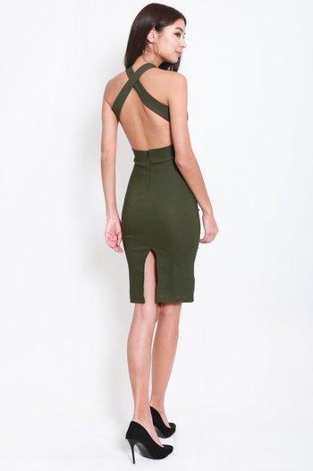 High Neck Cross Back Midi Dress (Olive)