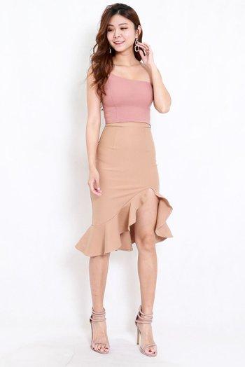 *Premium* Ruffle Slit Midi Skirt (Skin-Nude)