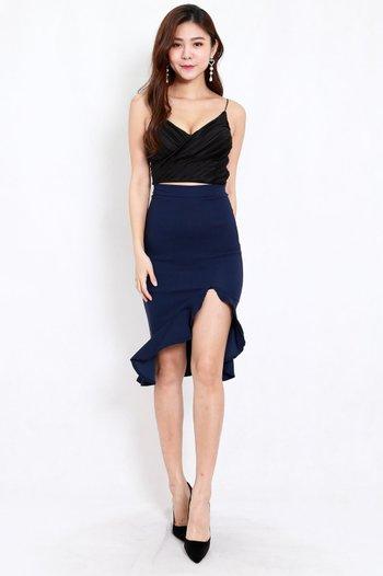 Ruffle Slit Midi Skirt (Navy)