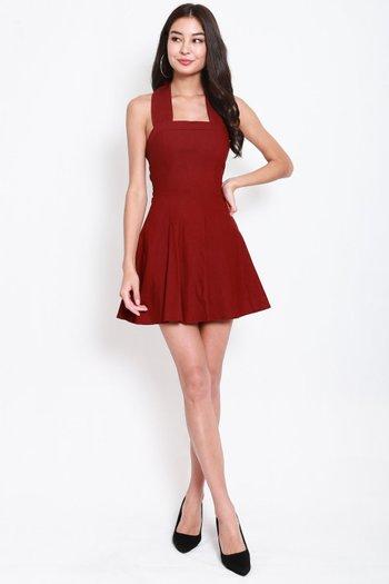 Bow Halter Skater Dress (Maroon)