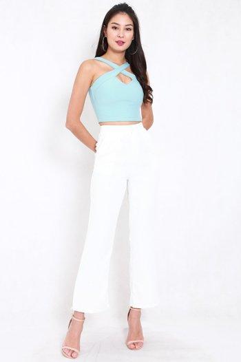 *Premium* Cross Front Top (Tiffany Blue)