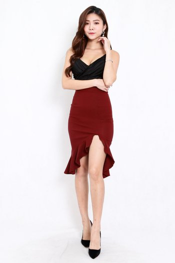 Ruffle Slit Midi Skirt (Maroon)