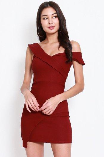 One Shoulder Overlap Dress (Maroon)