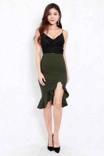 Ruffle Slit Midi Skirt (Olive)