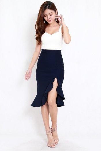 *Premium* Ruffle Slit Midi Skirt (Navy)