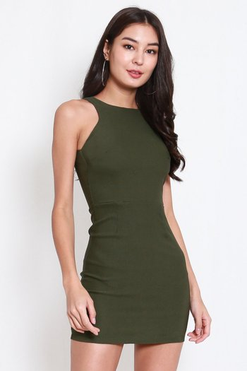 Basic Cut In Dress (Olive)