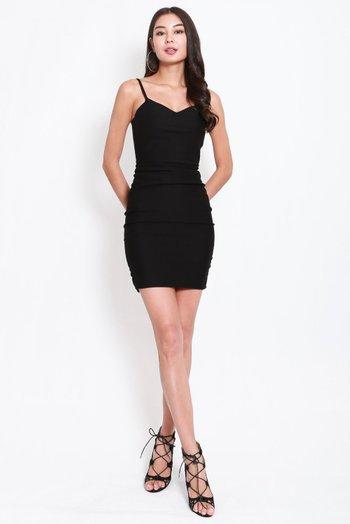 *Premium* Sweetheart Ruch Bodycon Dress (Black)