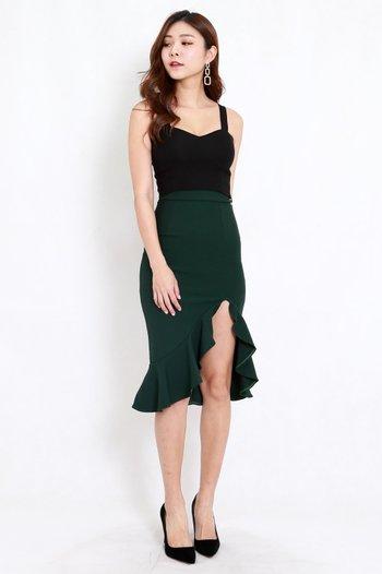*Premium* Ruffle Slit Midi Skirt (Forest Green)