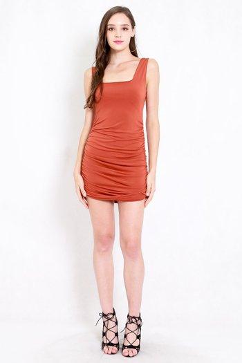 Square Neck Ruched Dress (Burnt Orange)