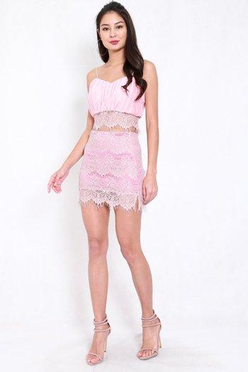 Pleated Lace 2pcs Set (Pink)