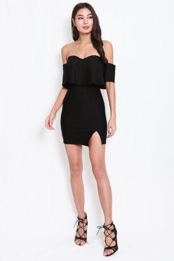 *Premium* Sweetheart Off Shoulder Tube Dress (Black)