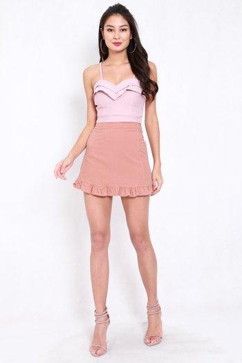 *Premium* Sweetheart Ruffle Spag Top (Light Pink)