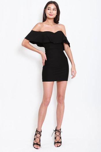 *Premium* Sweetheart Ruffle Tube Dress (Black)