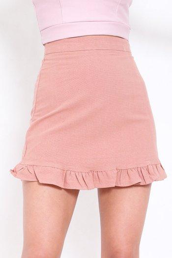 Mermaid Frill Linen Skirt (Dusty Pink)