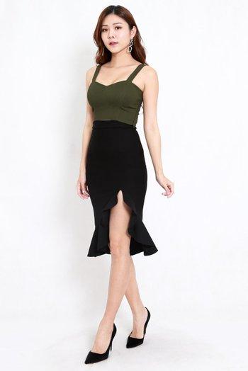 *Premium* Ruffle Slit Midi Skirt (Black)